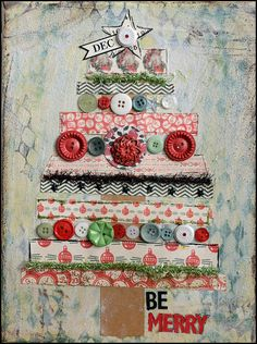 """jbs inspiration: """"Be Merry"""" Christmas Canvas from May Flaum"""