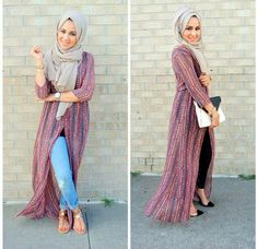 How to wear long cardigan with hijab long kimono hijab outfit- How to wear long. How to wear long cardigan with hijab long kimono hijab outfit- How to wear long cardigan with hija Islamic Fashion, Muslim Fashion, Modest Fashion, Casual Hijab Outfit, Hijab Dress, Hijab Wear, Kimono Outfit, Modest Wear, Modest Outfits