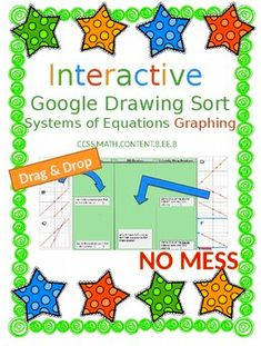 8.EE.8 Go Paperless--INTERACTIVE with Google Solving Systems of Equations with Graphing Education Middle School, Middle School Teachers, Systems Of Equations, Secondary Math, 8th Grade Math, Free Teaching Resources, Free Math, Google Classroom, Educational Technology