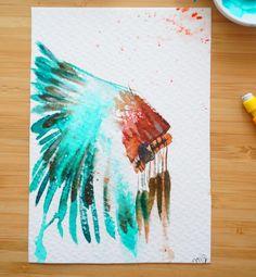 Coiffe indienne en aquarelle sur du papier coton Body Tattoos, Watercolor Tattoo, Dream Catcher, Cow, Etsy, Canvases, Drawings, Instagram Posts, Inspiration
