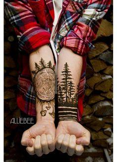 #tattoo #trees #black #nature