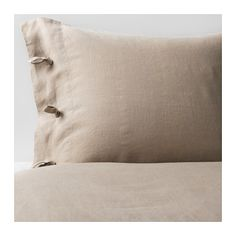 IKEA - LINBLOMMA, Duvet cover and pillowcase(s), Full/Queen, , The natural fibers in linen create subtle variations in the surface which gives your bed linen a distinctive texture and matte luster.Linen helps your body to maintain a comfortable, even temperature all through the night because it breathes and absorbs moisture.Linen is a strong, durable material that washes well and has a natural protection against stains. Becomes more beautiful over time.Decorative ribbons and a concealed…