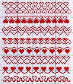 Fair Isle Knitting Patterns, Bead Loom Patterns, Crochet Stitches Patterns, Knitting Charts, Crochet Chart, Knitting Stitches, Cross Stitch Heart, Cross Stitch Borders, Cross Stitch Designs