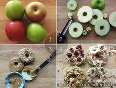 """Apple """"donuts"""" a brilliant snack! Healthy Recipes, Healthy Snacks, Snack Recipes, Healthy Donuts, Healthy Eating, Clean Eating, Yummy Recipes, Healthy Bagel, Paleo Treats"""