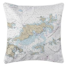 BVI: Tortola, BVI Nautical Chart Pillow