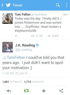 Tom Felton joins Pottermore - Rowling responds. - Imgur