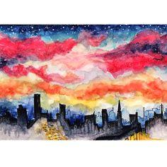 illust waterclor illustration artwork artist painting color postcard sky night skyline painting