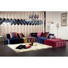 Shop for Divani Casa Dubai Transitional Fabric Sectional Sofa. Get free delivery at Overstock - Your Online Furniture Shop! Get in rewards with Club O! Blue Sectional, Modular Sectional Sofa, Fabric Sectional, Modern Sectional, Corner Sectional, Sleeper Sectional, Living Room Sofa, Living Room Furniture, Basement Furniture