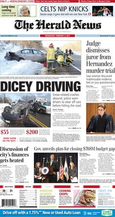 The front page of The Herald News for Wednesday, Feb. 4, 2015. #fallriver