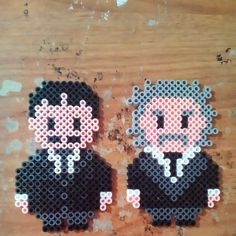 Tesla and Einstein perler beads by deathmaustudios