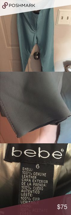NWOT'S Bebe leather pants Beautiful aqua color , very soft leather. Excellent condition. Genuine leather bebe Pants Straight Leg