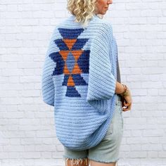 This southwestern-inspired shrug uses very simple stitches to achieve a unique end result. While this design resembles the look of tapestry crochet, it's actually made by switching colors mid-row using basic crochet techniques.The result is quite a showstopper and looks far from DIY-ed.Paired with jeans, leggings or cutoffs, this'll become your favorite comfy statement piece. If you're looking for a mindless project with a bit of magic tossed in the middle, this crochet shrug pattern is f...