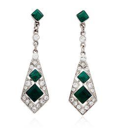 Deco Emerald Drop Earrings