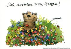 Ich danke von Herzen. #Danken, #Postkarte, #Janosch