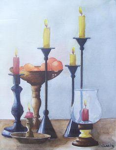 Candele  1996 (23,5 x 21 watercolor on paper) https://www.facebook.com/Riflessi-e-trasparenze-di-Germana-Galdi-152645784768295/
