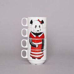 'Miss Panda' Coffee Cup Set