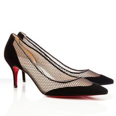 7f08b608355 Red Bottom Shoes Mireille 70mm Suede and Fishnet Pumps Black Christian  Louboutin Outlet