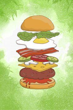 restaurant drawing Hand Drawn Watercolor Cartoon B - Burger Drawing, Food Drawing, Burger Cartoon, Watercolor Food, Watercolor Paintings, Burger And Fries, Food Painting, Cartoon Background, Fast Food Restaurant