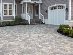 Patio paver ideas for your garden or backyard. Stone, brick, and block paver design ideas. Brick Driveway, Driveway Design, Driveway Landscaping, Patio Design, Driveway Ideas, Driveway Entrance, Walkway Ideas, Landscaping Ideas, Grey Pavers