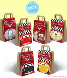 cutest Cars 3 party printables! - Decorate your Cars birthday favor bags with these adorable characters from the Cars 3 movie including Jackson Storm, Cruz Ramirez, Lightning McQueen, Mater, Luigi and Guido and make all your little racer's guests feel like Piston cup winners! //// Decoracion imprimibles de bolsita de sorpresas fiesta cars!