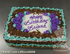 Purple Roses and Blue Trim Birthday Cake