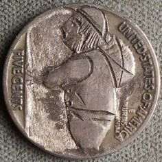 FRANK BRAZELL HOBO NICKEL - MINI MAN - BUFFALO NICKEL REVERSE CARVING Hobo Nickel, Genealogy, Buffalo, Classic Style, Coins, Carving, Rooms, Wood Carvings, Sculptures