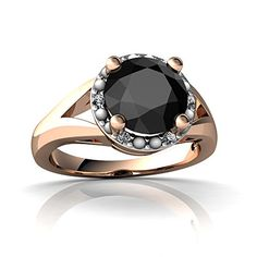 14kt Rose Gold Black Onyx and Diamond 8mm Round Halo Split Band Ring - Size 6.5 *** Check out the image by visiting the link.