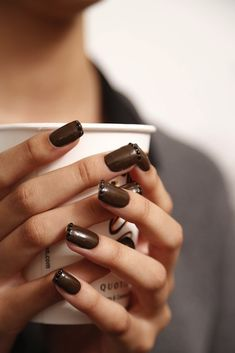 """Geri Hirsch Leave it to Marc Jacobs (on his Spring 2014 runway) to switch up the french mani by adding both dark colors and crystal embellishment to the tips (Swarovski - fancy!). """"Marian Newman created a textured manicure for the show, using Jacobs' Bark! nail polish, which is slated to launch in the summer of 2014. The polish had embedded Swarovski crystals at the top, which were then covered by another layer of polish. """"Especially for summer, it's so wrong it's right,"""" said Newman."""" - via…"""