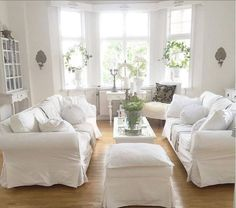 ideas for farmhouse furniture livingroom sofas white couches Shabby Chic Living Room Furniture, Ikea Living Room, Shabby Chic Interiors, Living Room White, Home And Living, Farmhouse Furniture, Living Rooms, Ikea Sofas, Living Room Scandinavian