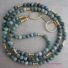 Green Ching Hai Jade and Gold Beaded Lanyard by missvalscreations