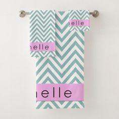 Your Name - Zigzag Chevron Pattern - Blue Pink Bath Towel Set - diy cyo personalize design idea new special