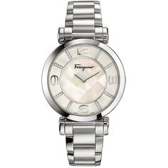Ferragamo Women's Ladies Crescent Watch ($1,995) ❤ liked on Polyvore featuring jewelry, watches, silver, water resistant watches, leather band watches, stainless steel wrist watch, dial watches and stainless steel watches