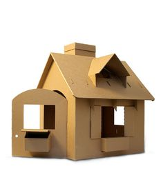 This Little Piggy's eco-friendly cardboard playhouse is an arts-and-crafts project you can build and enjoy with your toddler and pre-schooler, through hours of imaginative play. Large cardboard playhouse comes furnished with two doors, a window, mailbox. Cardboard Box Houses, Cardboard Castle, Cardboard Playhouse, Paper Houses, Cardboard Crafts, Toy House, Glitter Houses, Cardboard Furniture, Diy Toys