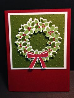 Wondrous Wreath Christmas Card, Stampin' Up!, Rubber Stamping, Handmade Cards, Stamp A Stack, Stamp Camp