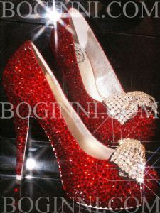 """Dramatic love.  The Wizard of Awwwwwwws comes out from behind the green curtain  to check out DOROTHY's MAGIC RED CRYSTAL 5"""" HEELS.  SEXY SHOES.  #humbledpink via Boginni.com"""