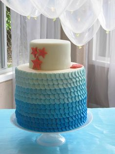 Mermaid Themed Baby Shower/Birthday Party: Blue Ombre Mermaid Scale Cake