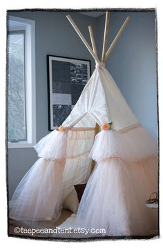 Kids Ruffle Teepee Play Tent  MADE TO ORDER by TeepeeandTent, $380.00