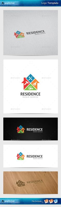 Residence Repair Logo Template (Vector EPS, AI Illustrator, Resizable, CS, blue, brush, build, building, business, city, clean, color, elegant, fun, hammer, home, house, housing, professional, property, real estate, realty, rent, repair, residence, tower, town, work)