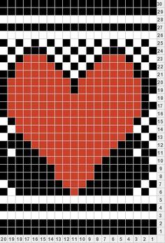 Heart knitting chart Hjertebord