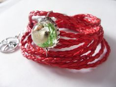 Multi-strap bracelet with pussy-willow and moss in resin by zusnA