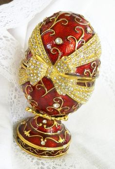 Red Enamel Faberge Egg Style Vintage Music Box