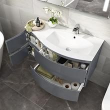 Designer Gloss Grey Curved Vanity Unit Wall Hung Right Hand Basin Sink – Eco Sweet Home Grey Vanity Unit, Vanity Units, Basin Sink Bathroom, Wall Hung Vanity, Bathroom Essentials, Bathroom Furniture, Contemporary Style, Cupboard, Bathrooms