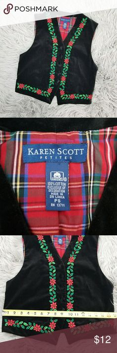 Karen Scott Petites Black Velvet Christmas Vest PS Karen Scott Petites Black Velvet Christmas Vest size PS in excellent used condition. Fun and cute!  Please let me know if you have any questions. Happy Poshing! Karen Scott Jackets & Coats Vests