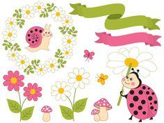 70% OFF SALE Summer Ladybug Clipart - Digital Vector Ladybird, Daisy, Wreath, Snail, Ladybug Clip Art #clipart #vector #illustration #thecreativemill