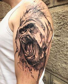 Sketch work gorilla tattoo on the left upper arm. Gorilla Tattoo, Sketch Style Tattoos, Tattoo Sketches, Couple Tattoos, Tattoos For Guys, Paar Tattoo, Monkey Tattoos, Couples Tattoo Designs, Tattoo Project