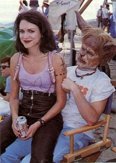 Naomi Watts & Scott Coffey behind the scenes during the filming of Tank Girl.