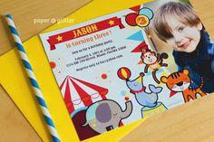 Circus Invitation or Carnival invitation printable by paperglitter, $13.00