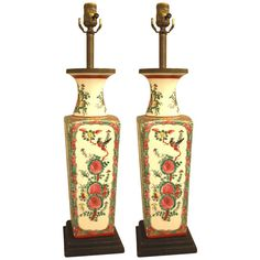 Table lamps, Pair of Chinese Porcelain Painted Lamps | From a unique collection of antique and modern table lamps at https://www.1stdibs.com/furniture/lighting/table-lamps/