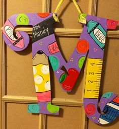 Hanger Rate this from 1 to Hanger Candace Cushman Teacher themed letter by JAGARToriginals on Etsy Candace Cushman Mason Jar Teacher Gift Idea - a Teacher Door Hangers, Letter Door Hangers, Teacher Doors, Teacher Name Signs, Letter To Teacher, Painting Wooden Letters, Painted Letters, Teacher Canvas, Class Decoration