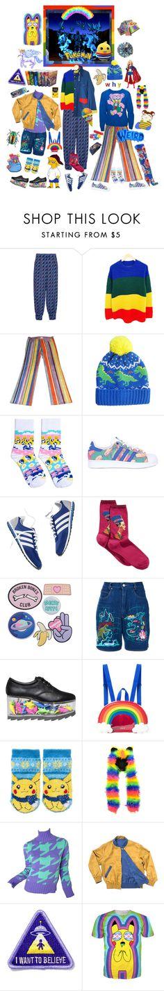 """Mama said, mama Ben"" by everysimpleplan ❤ liked on Polyvore featuring Marni, adidas Originals, HOT SOX, Kansai Yamamoto, mmm, Tom Ford, rainbow, colorful, Pokemon and kidcore"